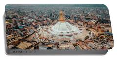 Stupa Temple Bodhnath Kathmandu, Nepal From Air October 12 2018 Portable Battery Charger