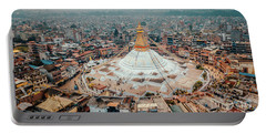 Stupa Temple Bodhnath Kathmandu, Nepal From Air October 12 2018 Portable Battery Charger