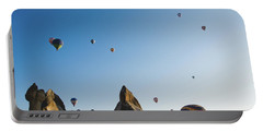 Colorful Balloons Flying Over Mountains And With Blue Sky Portable Battery Charger