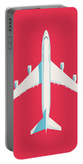 747 Jumbo Jet Airliner Aircraft - Crimson Portable Battery Charger