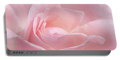 Portable Battery Charger featuring the photograph A Delicate Pink Rose by Susan Rissi Tregoning