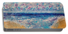 Portable Battery Charger featuring the painting A Drop In The Ocean by Tracy Bonin