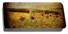 Portable Battery Charger featuring the photograph A Field Covered With Mist by Milena Ilieva