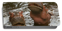 A Hippopotamus Pair In The Water Portable Battery Charger