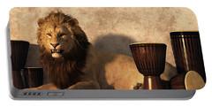 Portable Battery Charger featuring the digital art A Lion Among Drums by Daniel Eskridge
