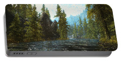 A River Flows Thru It Portable Battery Charger