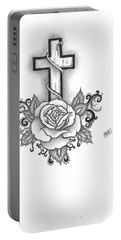 A Rose And A Cross Portable Battery Charger