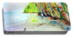 Portable Battery Charger featuring the painting A Stroll On Batibou Beach 3 by Carlin Blahnik CarlinArtWatercolor
