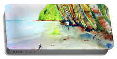 Portable Battery Charger featuring the painting A Stroll On Batibou Beach 4 by Carlin Blahnik CarlinArtWatercolor