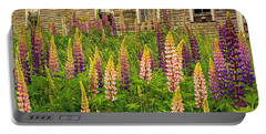 Abandoned Maine Farm Lupines Portable Battery Charger