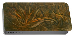 Abstract Brown/orange Floral In Encaustic Portable Battery Charger