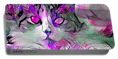 Abstract Calico Cat Purple Glass Portable Battery Charger