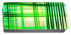 Abstract Design With Lines Squares In Green Color Waves - Pl409 Portable Battery Charger