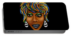 Abstract Art Black Woman Retro Pop Art Painting- Ai P. Nilson Portable Battery Charger