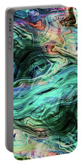 Abstract Painting - Fluid Painting 03 - Blue, Green, Teal, Aqua - Modern Abstract Painting - Flow 03 Portable Battery Charger