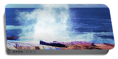 Crashing Waves At Schoodic Point Abstract Portable Battery Charger