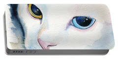Adele - White Cat Portrait Portable Battery Charger