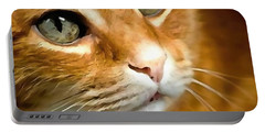Adorable Ginger Tabby Cat Posing Portable Battery Charger