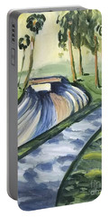 Portable Battery Charger featuring the painting Afternoon In The Park by Maria Langgle