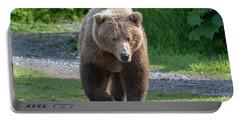 Alaskan Brown Bear Walking Towards You Portable Battery Charger