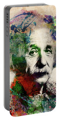 Albert Einstein Watercolor Portrait Portable Battery Charger