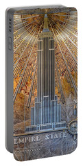 Portable Battery Charger featuring the photograph Aluminum Relief Inside The Empire State Building - New York by Marianna Mills