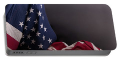 American Flag Draped On Itself Portable Battery Charger