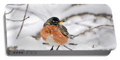 American Robin In The Snow Portable Battery Charger