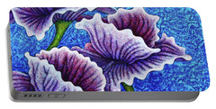 Portable Battery Charger featuring the painting Amethysts Afloat by Amy E Fraser