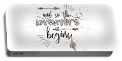 And So The Adventure Begins - Boho Chic Ethnic Nursery Art Poster Print Portable Battery Charger