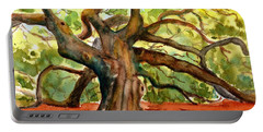 Portable Battery Charger featuring the painting Angel Oak Tree South Carolina by Carlin Blahnik CarlinArtWatercolor