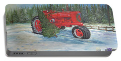 Antique Tractor At The Christmas Tree Farm Portable Battery Charger