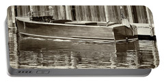 Antique Wooden Boat By Dock Sepia Tone 1302tn Portable Battery Charger