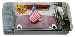 Antique Wooden Boat With Flag And Flowers 1304 Portable Battery Charger