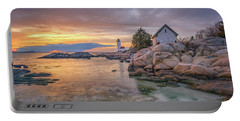 April Sunset At Annisquam Harbor Lighthouse Portable Battery Charger