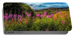 Art Photo Of Vermont Rolling Hills With Pink Flowers In The Fore Portable Battery Charger