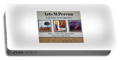 Portable Battery Charger featuring the digital art Arts M.perron Banner by Mario MJ Perron
