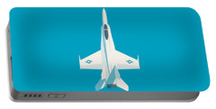 F-18 Hornet Jet Fighter Aircraft - Cyan Portable Battery Charger