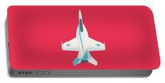 F-18 Super Hornet Jet Fighter Aircraft - Crimson Portable Battery Charger