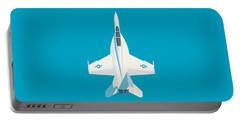 F-18 Super Hornet Jet Fighter Aircraft - Cyan Portable Battery Charger