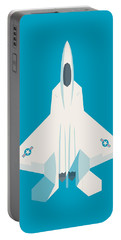 F22 Raptor Jet Fighter Aircraft - Cyan Portable Battery Charger