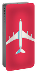 707 Passenger Jet Airliner Aircraft - Crimson Portable Battery Charger