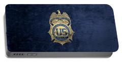 Drug Enforcement Administration -  D E A  Special Agent Badge Over Blue Velvet Portable Battery Charger