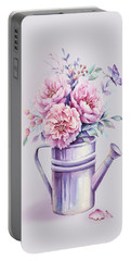 Portable Battery Charger featuring the painting Pink Peonies Blooming Watercolour by Georgeta Blanaru