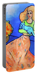 Lady With Blue Cat Portable Battery Charger