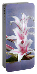 Pink Striped White Lily Flowers Portable Battery Charger