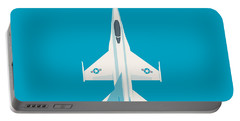 F-16 Falcon Fighter Jet Aircraft - Cyan Portable Battery Charger
