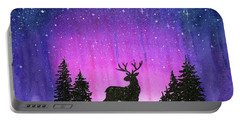 Winter Forest Galaxy Reindeer Portable Battery Charger