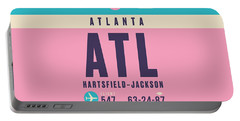 Retro Airline Luggage Tag - Atl Atlanta Portable Battery Charger
