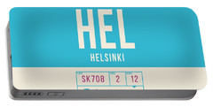 Retro Airline Luggage Tag 2.0 - Hel Helsinki Finland Portable Battery Charger